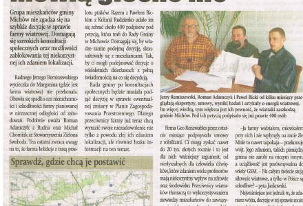 ranczomichow.pl – mieszkańcy Gminy Michów przeciwni farmom wiatrowym