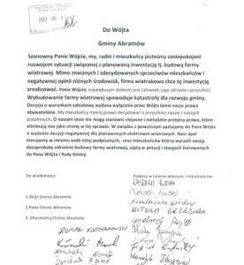 Zdesperowani mieszkańcy gminy Abramów bronią się przed przemocą urzędników działających w interesie koncernów wiatrowych