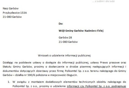 Polkomtel. Nasz Garbów pyta pana Wójta. Złożono wniosek o udzielenie informacji publicznej odnośnie wieloletniej współpracy Gminy Garbów z firmą Polkomtel.