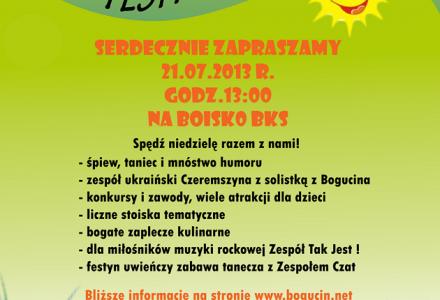 21 lipca 2013 –  Bogucin zaprasza na  FESTYN !! Program poniżej