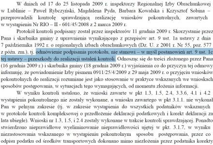 Pan Wójt Kazimierz Firlej odmawia podpisania protokołu kontroli i nie wykonuje wniosków pokontrolnych, wskazujących na nieprawidłowości w działaniu Urzędu Gminy Garbów.