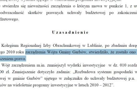 Nielegalne zarządzenie Wójta Gminy Garbów. Regionalna Izba Obrachunkowa potwierdza. [edukacja samorządowa]