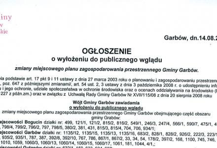Zmiany miejscowego planu zagospodarowania przestrzennego Gminy Garbów – wyłożenie projektu do publicznego wglądu w dniach 22 sierpnia – 19 września 2013