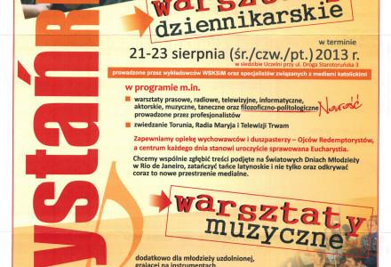 Warsztaty dziennikarskie – 21-23 sierpnia 2013 –  [ogłoszenie]
