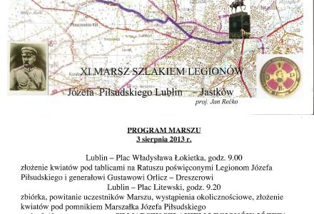 Zaproszenie na XI Marsz Szlakiem Legionów Józefa Piłsudskiego Lublin – Jastków