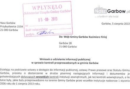 Nasz Garbów złożył do Wójta wniosek o udzielenie informacji publicznej odnośnie przeprowadzanych w gminie Garbów kontroli.