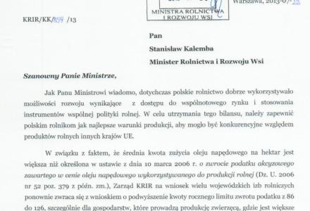 Ministerstwo Rolnictwa i Rozwoju Wsi odmówiło podwyższenia limitu zwrotu podatku akcyzowego od paliwa rolniczego