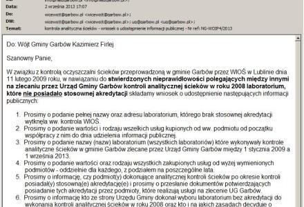 Kontrola analityczna ścieków w gminie Garbów wykonywana przez laboratorium bez stosownej akredytacji – kolejny wniosek o udostępnienie informacji publicznej.