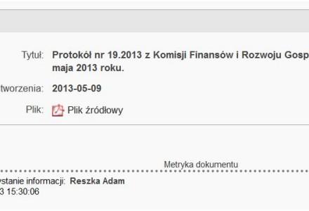 Kolejne zaniedbania w BIP. Spóźniona publikacja protokołu z Komisji finansów i rozwoju gospodarczego.