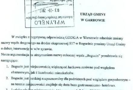Mieszkańcy Bogucina oczekują dalszych działań władz gminy Garbów odnośnie odzyskania nazwy węzła drogowego leżącego na terenie ich miejscowości.