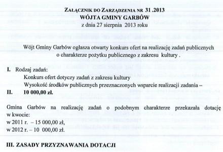 Konkurs ofert na realizację zadań publicznych z zakresu kultury. Wartość środków przeznaczonych na wsparcie: 10 tysięcy zł.
