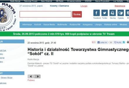 """Historia i działalność Towarzystwa Gimnastycznego """"Sokół"""". Audycja w Radiu Maryja i Telewizji Trwam."""