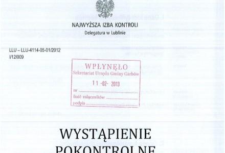 Wystąpienie pokontrolne NIK – kontrola dróg w Gminie Garbów – luty 2013