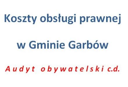 Jakie są koszty obsługi prawnej gminy Garbów? Kolejny wniosek o udostępnienie informacji publicznej.