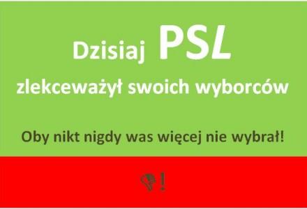"""Posłowie PSL-u: H. Smolarz i J. Łopata głosując przeciwko referendum, zagłosowali przeciwko własnym wyborcom. Czy tak teraz rozumie się słowo """"ludowy""""?"""