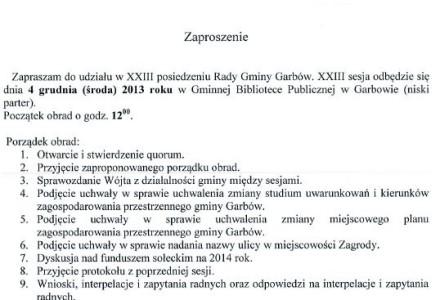 Zaproszenie na XXIII Sesję Rady Gminy Garbów – 4 grudnia 2013, g.12.00.
