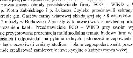 Minął rok od wizyty firmy wiatrakowej na Komisji Rolnictwa. Wciąż nie ma oficjalnego stanowiska Rady w sprawie budowy elektrowni wiatrowych na terenie gminy Garbów