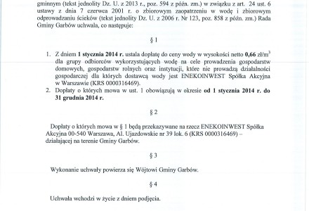 Dopłaty do wody od Enekoinwest S.A. w Warszawie w roku 2014.Treść uchwały.