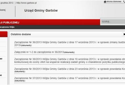 2 grudnia 2013. Od rana trwa uzupełnianie zarządzeń wójta w Biuletynie Informacji Publicznej Gminy Garbów.