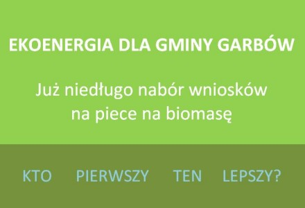 Garbów dołączy do gmin, które otrzymały dofinansowanie do projektów na montaż kolektorów słonecznych i kotłów CO na biomasę