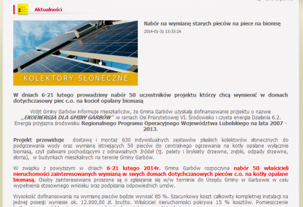 Czy to przypadek? Godzinę po publikacji serwisu NaszGarbow.pl Urząd Gminy Garbów ogłasza oficjalnie nabór na piece na biomasę