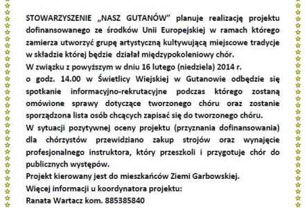 Gutanów zaprasza do współtworzenia Chóru Ziemi Garbowskiej!