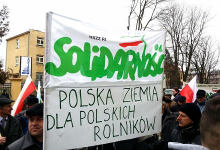 """Solidarność """"Rolników Indywidualnych"""" protestuje w obronie polskiej ziemi i lasów (26 lutego 2014)"""