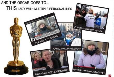 """Namierzona przez internautów. Ta sama """"aktorka"""" gra prorosyjską aktywistkę, matkę żołnierzy, mieszkanę Odessy, Charkowa…. Tak się robi dezinformację"""