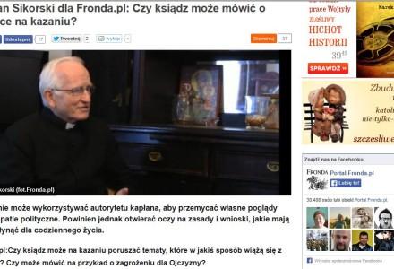 Czy ksiądz może mówić o polityce na kazaniu? Fronda.pl rozmawia z ks. Sikorskim