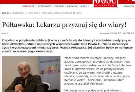 Wanda Półtawska: Lekarzu przyznaj się do wiary!