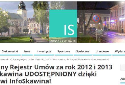 Skawina – udostępnienie rejestru umów dzięki portalowi InfoSkawina