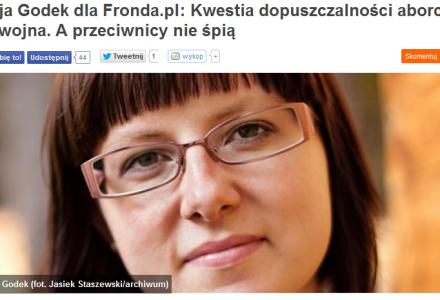 Kwestia dopuszczalności aborcji to wojna. A przeciwnicy nie śpią – Kaja Godek dla Fronda.pl
