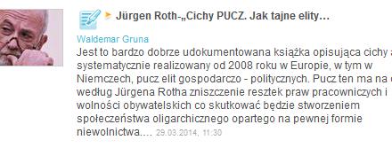 """Jürgen Roth-""""Cichy PUCZ. Jak tajne elity gospodarcze i polityczne przejmują władzę nad Europą i Niemcami"""""""