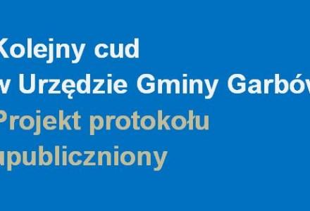 23 kwietnia 2014 – Kolejne zwycięstwo jawności w Garbowie. Po raz pierwszy w historii opublikowano projekt protokołu z obrad Sesji Rady Gminy