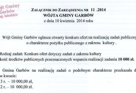 Konkurs ofert na realizację zadań o charakterze pożytku publicznego z zakresu kultury. Wysokość dotacji przeznaczonej na wsparcie: 10 tys. zł.