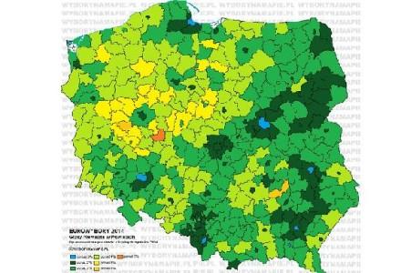 Ciekawa mapa wyborów. Im jaśniej – więcej nieważnych głosów, a to bastiony PO