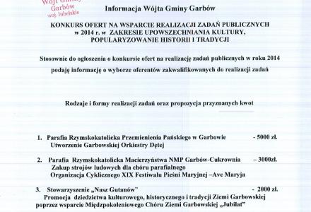 Informacja Wójta Gminy Garbów o wyborze oferentów zakwalifikowanych do realizacji zadań publicznych w 2014 r. z zakresu upowszechniania kultury, popularyzowania historii i tradycji