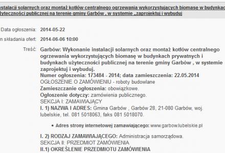 22 maja 2014 r. – Gmina Garbów ogłosiła przetarg na wykonanie instalacji solarnych i montaż kotłów c.o. w ramach projektu EKOENERGIA DLA GMINY GARBÓW
