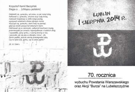 Zaproszenie na obchody 70 rocznicy wybuchu Powstania Warszawskiego – Lublin 1 sierpnia 2014 r.