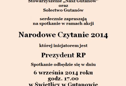 Narodowe Czytanie 2014 – Gutanów 6 września 2014