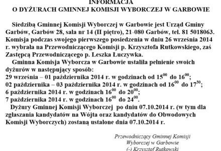 Dyżury Gminnej Komisji Wybroczej w Garbowie