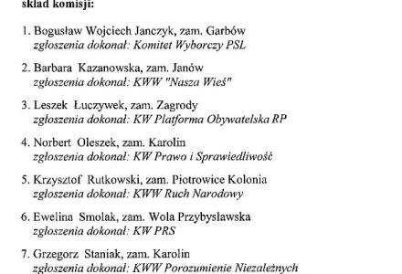 Gminna Komisja Wyborcza 2014 – skład