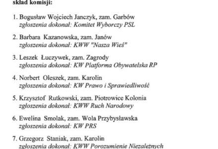 Skład Gminnej Komisji Wyborczej w Garbowie – 2014