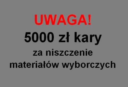 Zawiadomienie Policji odnośnie przypadków niszczenia materiałów wyborczych w Piotrowicach Wielkich
