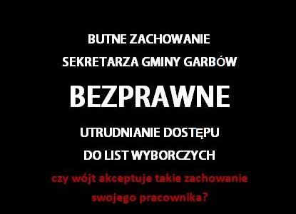Telefoniczna interwencja Komisarza Wyborczego. Sekretarz Gminy Garbów bezprawnie utrudniał dostęp do list wyborczych