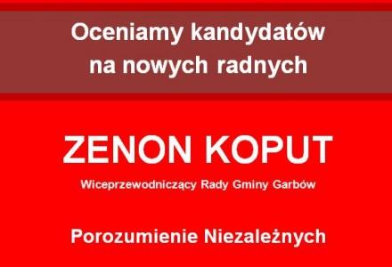 Radny Zenon Koput – Wiceprzewodniczący Rady Gminy Garbów. Lobbysta wiatrakowy, przeciwnik rejestru wydatków i funduszu sołeckiego