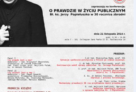 O prawdzie w życiu publicznym. Bł. ks. Jerzy Popiełuszko w 30 rocznicę zbrodni – 21 listopada  2014 r.