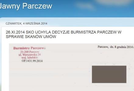 Samorządowe Kolegium Odwoławcze uchyliło decyzję Burmistrza Parczewa, który odmówił udzielenia skanu umów zawartych  przez Gminę