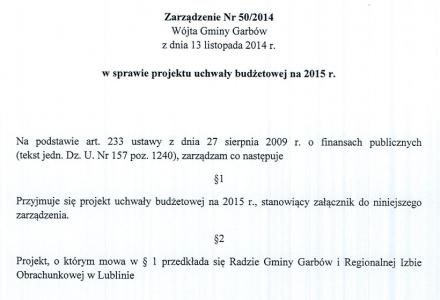 Projekt budżetu gminy Garbów na 2015 rok