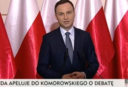 Duda odpowiada Komorowskiemu: Zgoda? Jak najbardziej, dlatego zapraszam na debatę!